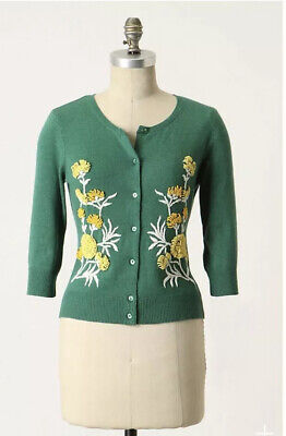 $ CDN50.08 • Buy Rare Tabitha Anthropologie Cardigan Sweater S Green Embroidered Cashmere Blend