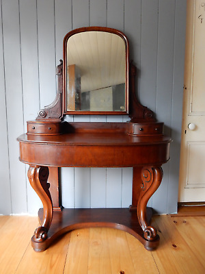 AU299 • Buy Antique Victorian 1880's Mahogany Dressing Table & Mirror Drawers Cabriole Legs