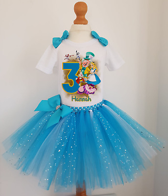 Girls Personalised Alice In Wonderland Birthday Tutu Dress Outfit  Costume • 19.99£