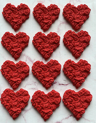 12 Edible RED VALENTINE Hearts Fondant Cupcake Toppers,wedding, • 6.95£