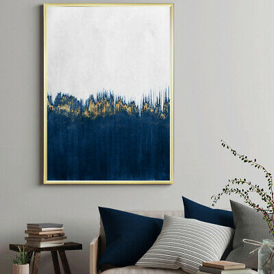 Blue & Gold Wall Art Abstract Watercolour Fine Art Painting Print Poster A4 - A1 • 9.99£