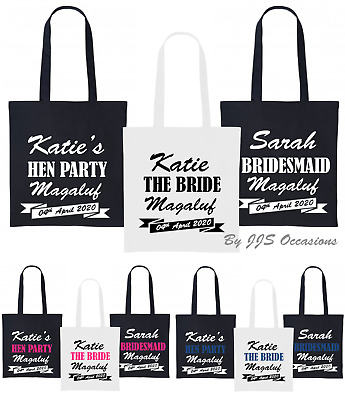 Hen Party Tote Gift Bag Personalised Text, Black Or White Bag 38 X 42cm Keepsake • 4.99£