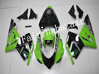 $515 • Buy Fit For 2004 2005 ZX10R Black Green ABS Plastic Injection Bodywork Fairing Kit