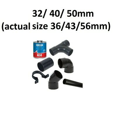 £2.99 • Buy  Solvent Weld Waste Pipe Fittings In Black 32mm / 40mm / 50mm ( 36 / 43 / 56mm )
