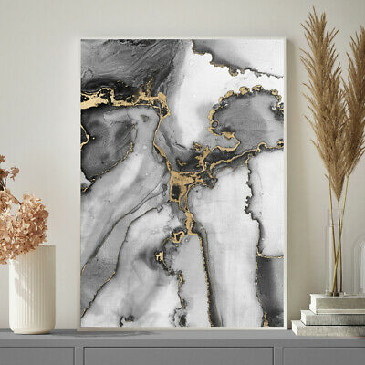 Grey And Gold Wall Art Watercolour Fine Art Painting Print Poster A4 A3 A2 A1 • 19.99£