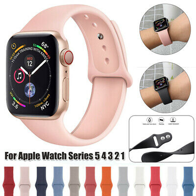 $ CDN3.93 • Buy Soft Silicone Sport Band For Apple Watch Series 5 4 3 44mm Wrist Bracelet Strap