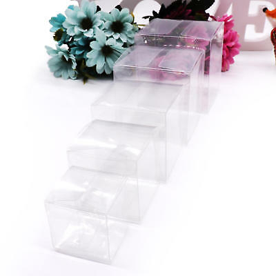 £6.79 • Buy Clear Cube Favour Box PVC Acetate Transparent Chocolate Sweets Cup Cake Wedding
