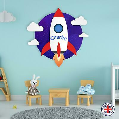 Personalised Name Rocket Space Ship Vinyl Wall Sticker Boys Bedroom Kids Nursery • 8.99£