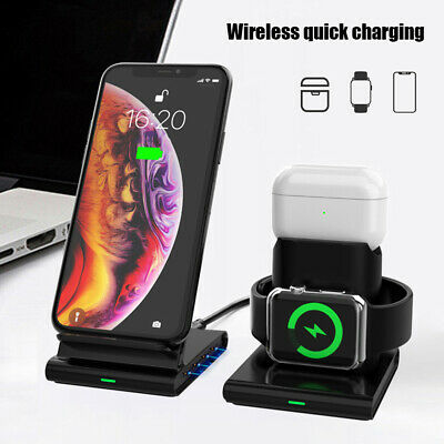 $ CDN26.40 • Buy 3in1 Qi Wireless Charger Dock Stand Fast Charging For Apple Watch IPhone AirPods