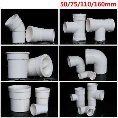 £9.49 • Buy 50/75/110/160mm PVC Drain Pipe Fittings Reducer Elbow , Straight , Tee Connector