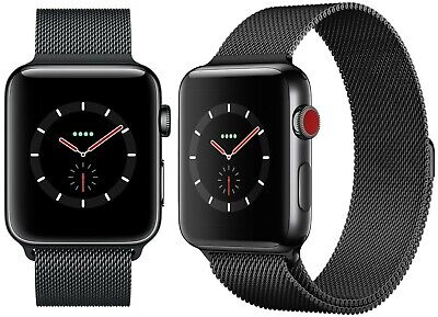 $ CDN350.19 • Buy Apple Watch Series 3 42mm GPS + LTE Cellular Milanese Black Stainless Steel Band