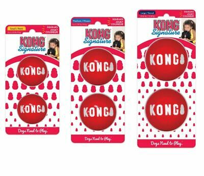 KONG SIGNATURE Balls Dog Toy Squeaky Small, Medium Or Large Fetch Chase 2 Pack • 9.49£