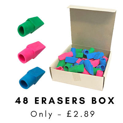 48 X Pencil Top Erasers Rubbers Angled Tips Assorted Good Value Pencil Toppers • 2.69£