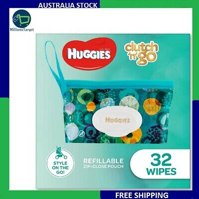 AU20.85 • Buy HUGGIES Baby Wipes Refillable Clutch `N' Go, 32 Wipes On The Go Soap MI