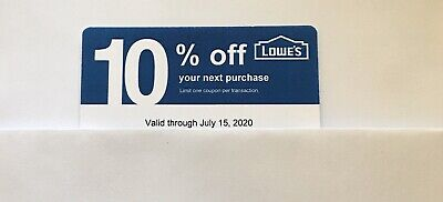 $10.99 • Buy 10: Lowe's Blue Card 10% Off For Home Depot + Other Comp Not Lowe's Exp 07/15/20