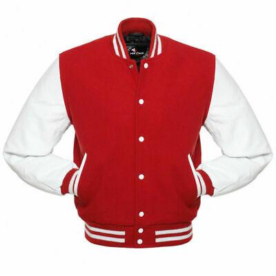 £53.34 • Buy Varsity Letterman Bomber Red Wool Jacket, White Pure Leather Sleeves XS-4XL