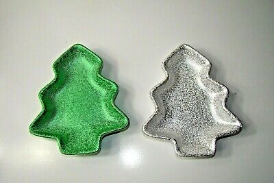 $17.75 • Buy Pair Of Christmas Tree Candy Dishes Green White
