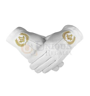 Masonic Regalia Cotton Gloves With Beautiful Square Compass And G • 7.99£