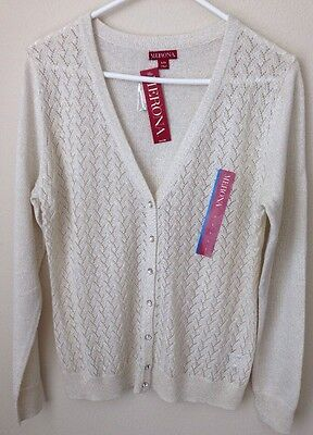 $3.99 • Buy  MERONA Womens Cardigan Sweater- Creme Metallic- Button Down Size Large-with Tag