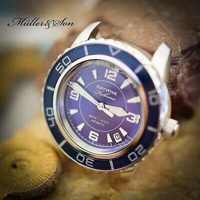 $ CDN381.28 • Buy Müller&Son Watch  Blue Mod 1  Made From Seiko SNZH53 Fifty Five Fathoms + Strap