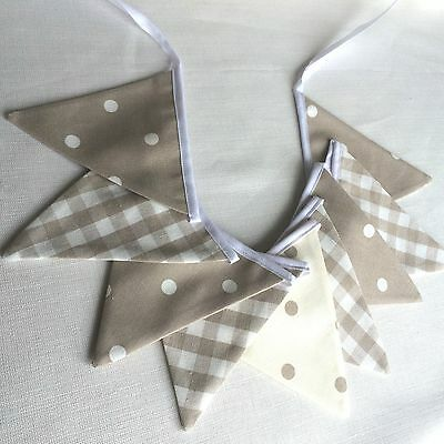 MINI BUNTING  Laura Ashley Dark Linen Gingham Taupe Spots  FREE P & P • 9.50£