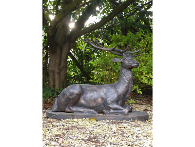 £795 • Buy Laying Large Life Size Cast Iron Bronze Finish Stag Garden Sculpture