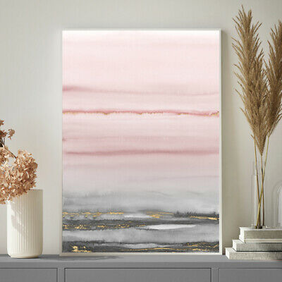 Pink Grey Gold Wall Art Minimalist Watercolour Painting Print Poster A4 To A1 • 9.99£