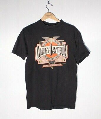 $ CDN85 • Buy Vintage 1991 Harley Davidson 3D Emblem Art Deco T Shirt Size XL Made In USA