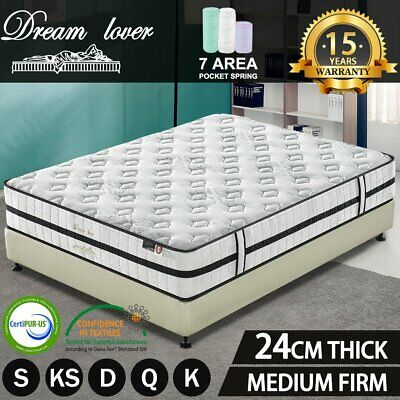 AU94 • Buy DREAM LOVER Queen Double King Single Mattress Bed Euro Top Pocket Spring Foam