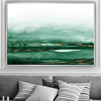 Green & Gold Wall Art Minimalist Watercolour Painting Print Poster A4 A3 A2 A1 • 19.99£