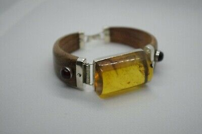 Mexican Amber Bracelet Wood And Solid 925 Sterling Silver • 90£