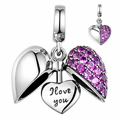 I Love You Heart Crystal Charm Bead S925 Silver - Wife Mum Sister Daughter Nan • 16.95£