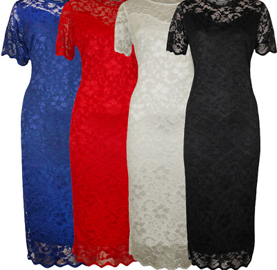 Women's Ladies Plus Size Short Sleeve Floral Lace Lined Midi Bodycon Party Dress • 17.80£