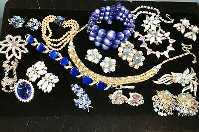 $ CDN24.78 • Buy Shades Of Blue Vintage Jewelry Lot Coro Weiss Lisner Mixed Materials 1 Sterling