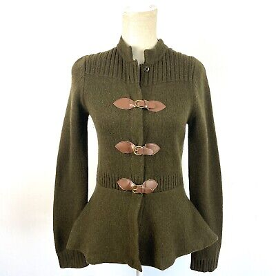 $ CDN44 • Buy Anthropologie Sparrow Lambswool Olive Buckle Equestrian Cardigan Sweater S
