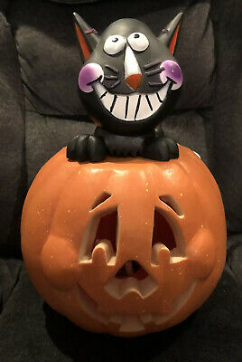 $19.99 • Buy Halloween Blow Mold Jack O Latern With Black Cat Rare HTF