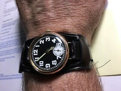 $ CDN4800 • Buy Large Rare Vintage Rolex Officers Trench Watch 34mm 9K Rose Gold! Double Signed