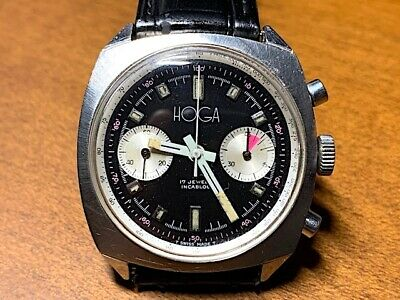 $ CDN1201.76 • Buy Vintage, Chronograph 2 Reg. Wristwatch, Stainless Steel Hoga, Valjoux 23