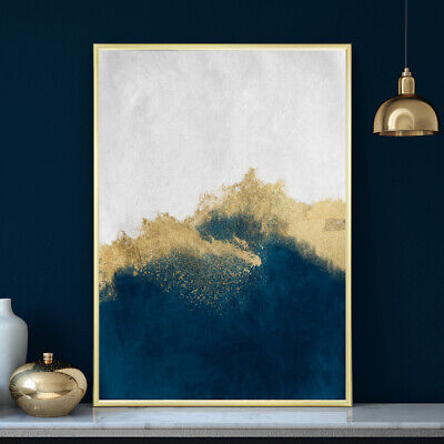 Deep Blue & Gold Wall Art Watercolour Home Bedroom Painting Print Poster A4 - A1 • 9.99£