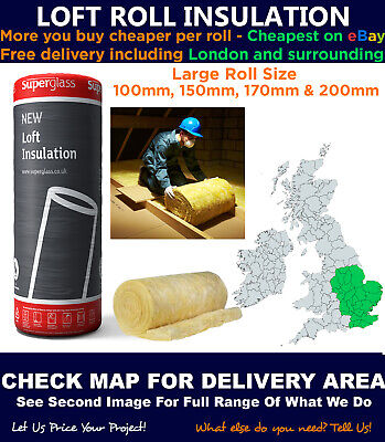 £169 • Buy Loft Roll Insulation - Superglass / Isover / Knauf - Fast Delivery - Check Map