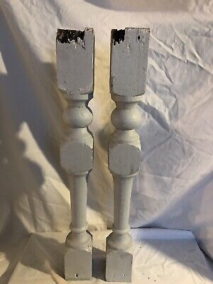 $22.08 • Buy 2 Vintage Wooden Porch Spindle Balusters 23 X 3 X 3 Gray Paint