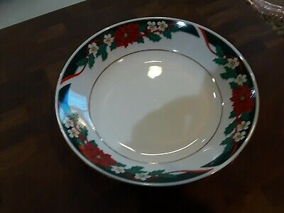 $2.99 • Buy Tienshan Fine China Deck The Halls Christmas Soup Bowl 7.25 across - EXC