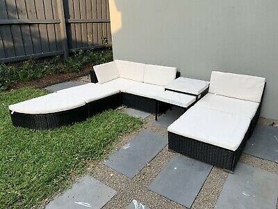 AU250 • Buy Outdoor Lounge Couch Wicker And Marble Tables Set Setting