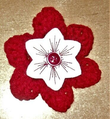 £3.50 • Buy CROCHET FLOWER CORSAGE BROOCH – Hand Crafted, Red + Embroidered Felt