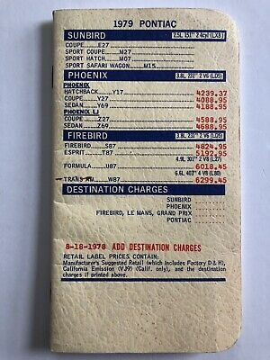 $19.61 • Buy Pontiac Car Sales Dealer Price List Brochure 1979 Firebird Trans Am Le Mans Etc