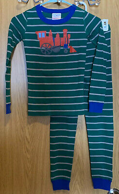 $8.95 • Buy Hanna Andersson Green Stripe Long John Pajamas In Organic Cotton Train 130 US 8
