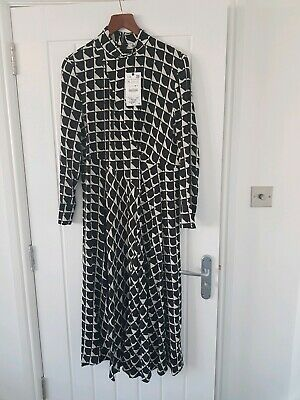 $39.36 • Buy Zara Black Geometric Print Midi Dress Size Xl 12-14  New With Tags