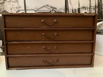 Antique Wood & Cloth Desktop Office File Collectors Chest 4 Drawers Cabinet • 50£