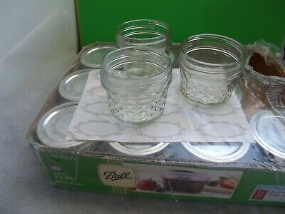 $14.25 • Buy Ball Crystal Quilted Mason Canning Jelly/Craft Jars 4 Oz ~ Set Of 12 ~ 3 Used