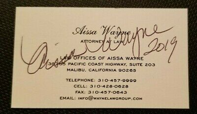$19.95 • Buy Autographed Aissa Wayne Business Card W/coa   DAUGHTER OF JOHN WAYNE